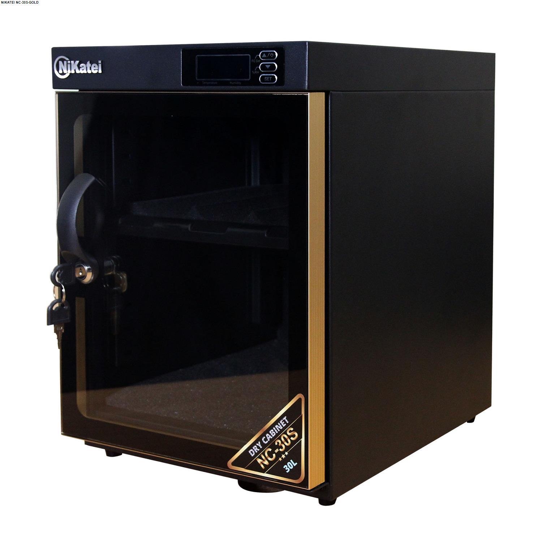 Tủ chống ẩm cao cấp Nikatei NC-30S viền nhôm mạ vàng